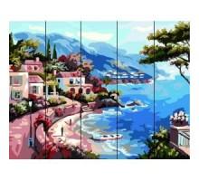 Картина по номерам на дереве  Морская бухта