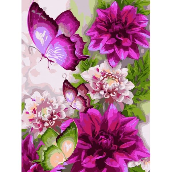 Картина по номерам Пионовые бабочки (Без коробки)