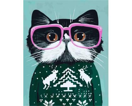 Картина по номерам Кот в очках