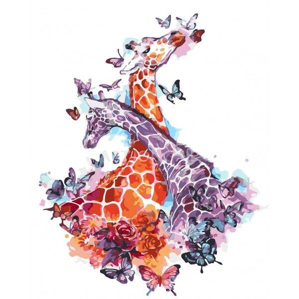 Картина по номерам Влюбленные жирафы