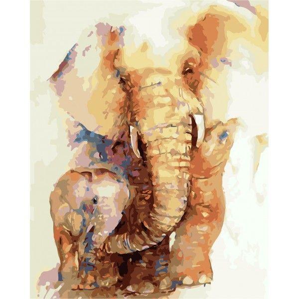 Картина по номерам Слоненок с мамой