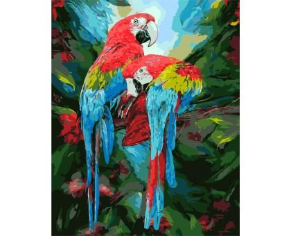 Картина по номерам Парочка попугаев