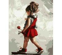 Картина по номерам Малышка с розой