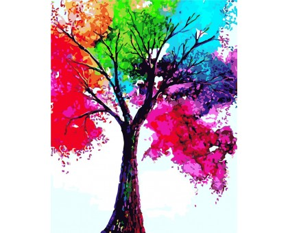 Картина по номерам Яркое дерево