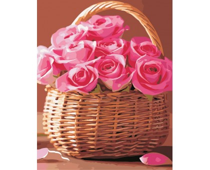 Картина по номерам Розы в корзинке