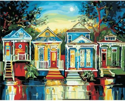 Картина по номерам Цветные домики