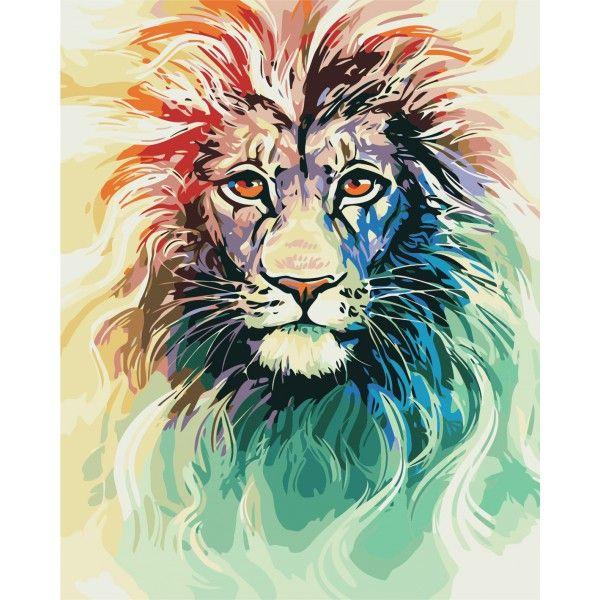 Картина по номерам Цветной лев