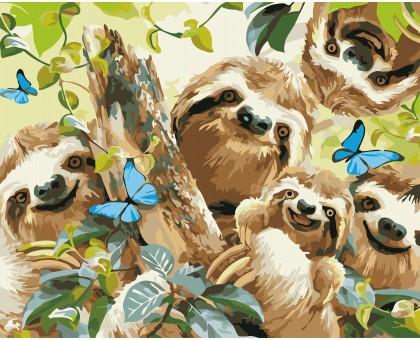 Картина по номерам Ленивцы Селфи