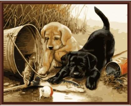Картина по номерам Рыбалка и щенки