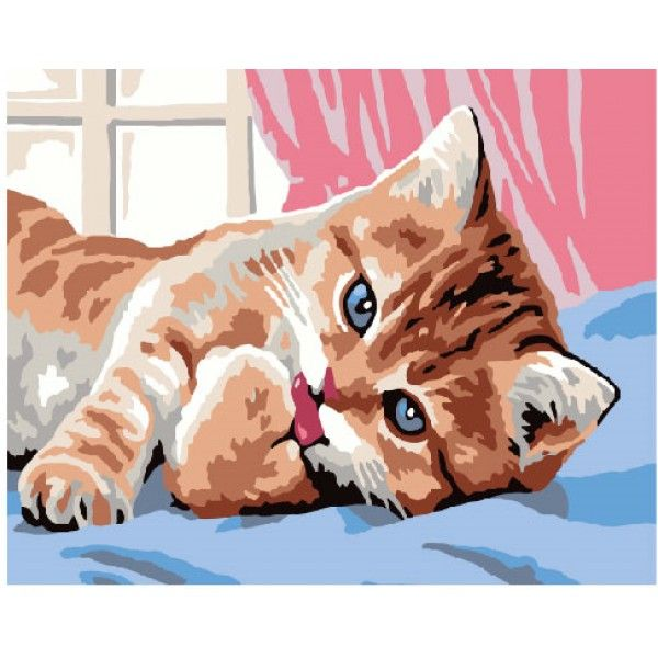 Картина по номерам Утро кошки (Без коробки)