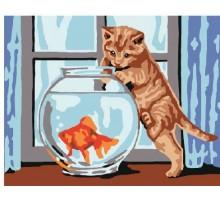 Картина по номерам Кошка и рыбка