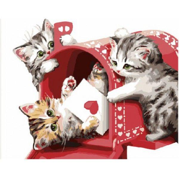 Картина по номерам Кошачья почта (Без коробки)