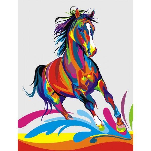 Картина по номерам Радужный конь (БЕЗ КОРОБКИ)