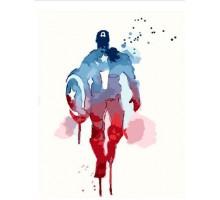 Картина по номерам Капитан Америка Акварель (Без коробки)
