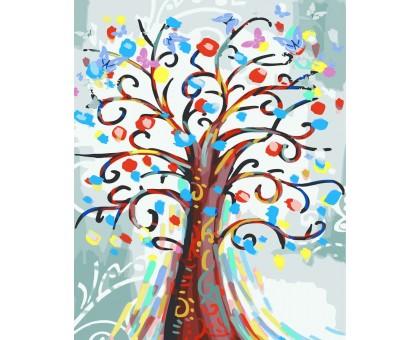 Раскраска по номерам Цветущее дерево