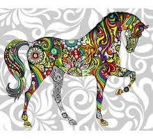 Раскраска по номерам Цветочный конь