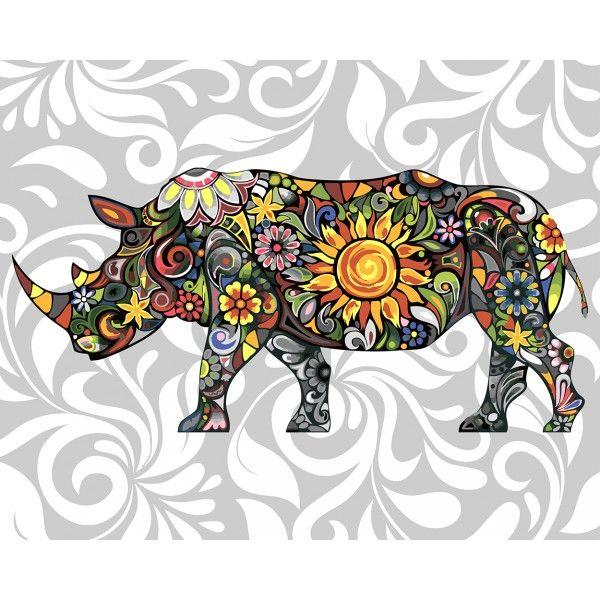 Картина по номерам Цветочный носорог (Без коробки)
