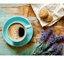 Картина по номерам Кофе и букет лаванды