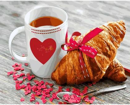 Картина по номерам Чай с круассаном