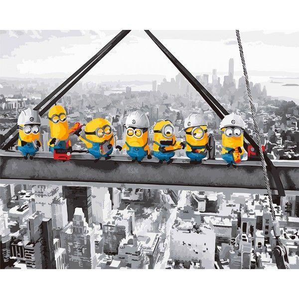 Картина по номерам Миньоны-строители