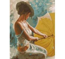 Картина по номерам Девушка с желтым зонтиком