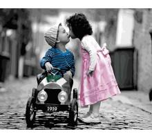 Раскраска по номерам Первый поцелуй