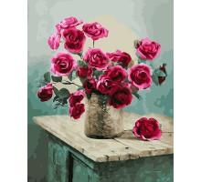 Картина по номерам Букет роз на комоде