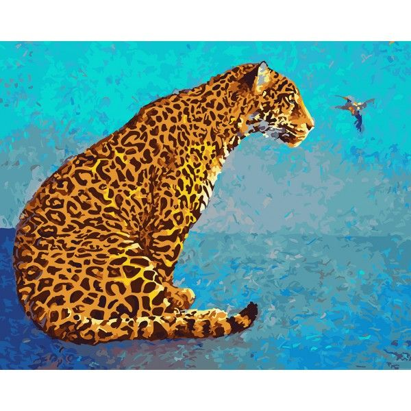 Картина по номерам Леопард и колибри (Без коробки)