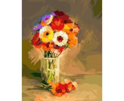 Картина по номерам Герберы в вазе