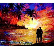 Картина по номерам Влюблённые на закате (Без коробки)