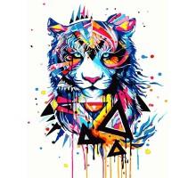 Картина по номерам Красочный тигр (Без коробки)