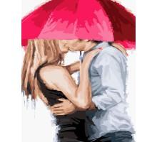 Картина по номерам Поцелуй под зонтом