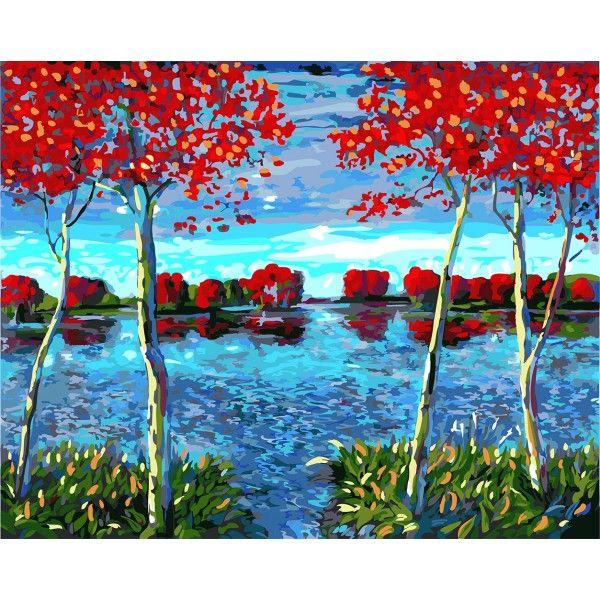Картина по номерам Осенний пруд (Без коробки)