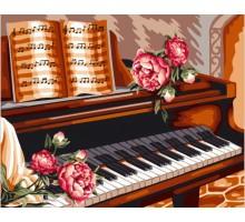 Картина по номерам Розы и пианино
