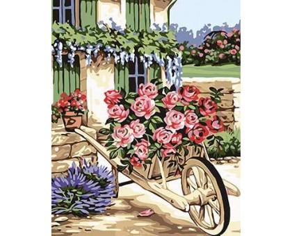 Картина по номерам Тележка с цветами