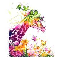 Картина по номерам Жираф и бабочки