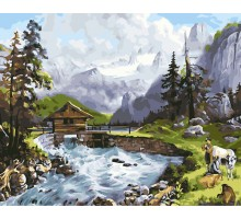 Картина по номерам Домик у реки