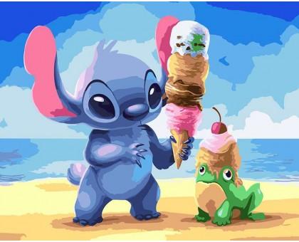 Картина по номерам Стич с мороженым
