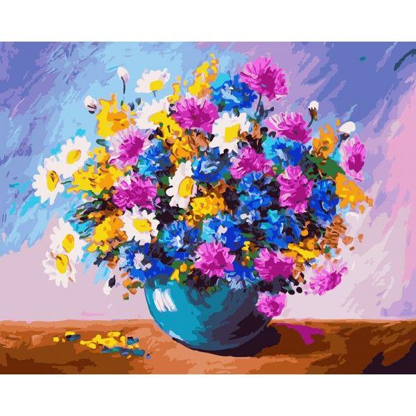 Картина по номерам Пышный букет в синей вазе (Без коробки)