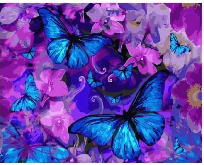 Картина по номерам Магические бабочки в цветах