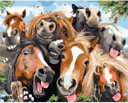 Картина по номерам Лошадки Селфи