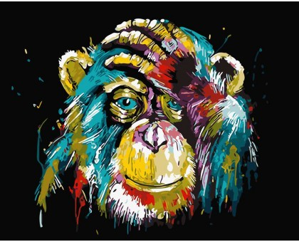 Картина по номерам Цветной шимпанзе