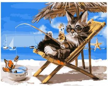 Картина по номерам Котик на каникулах