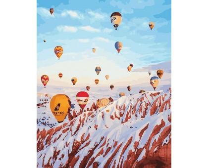 Картина по номерам Воздушные шары над зимними горами