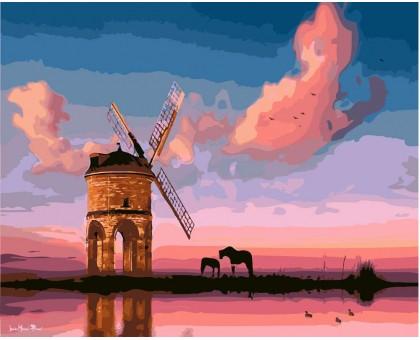 Картина по номерам Мельница на закате