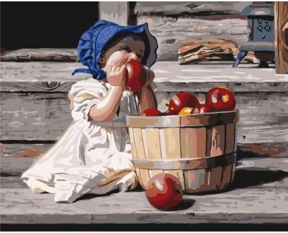 Картина по номерам Девочка и яблоки