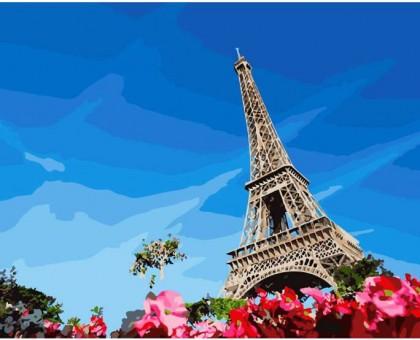 Картина_Рисование по номерам Эйфелева башня весной