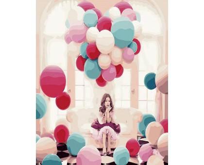Картина по номерам Среди воздушных шаров