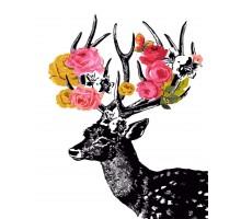 Раскраска по номерам Цветочный олень