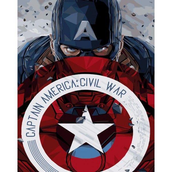 Картина по номерам Капитан Америка со щитом